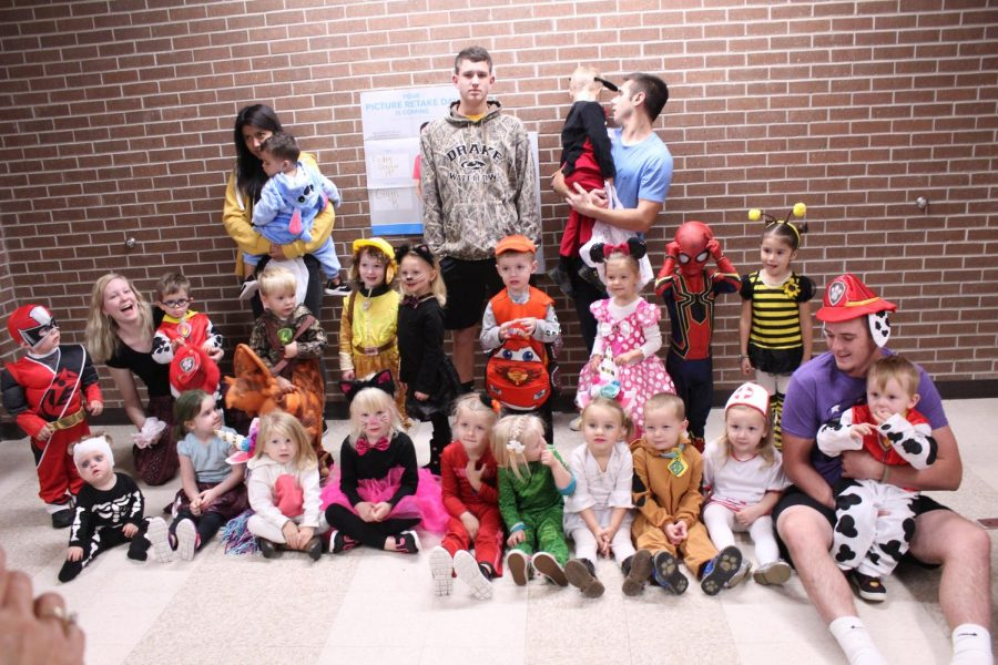 The Family Studies class took their pre-school kids around the school for early trick-or-treating.
