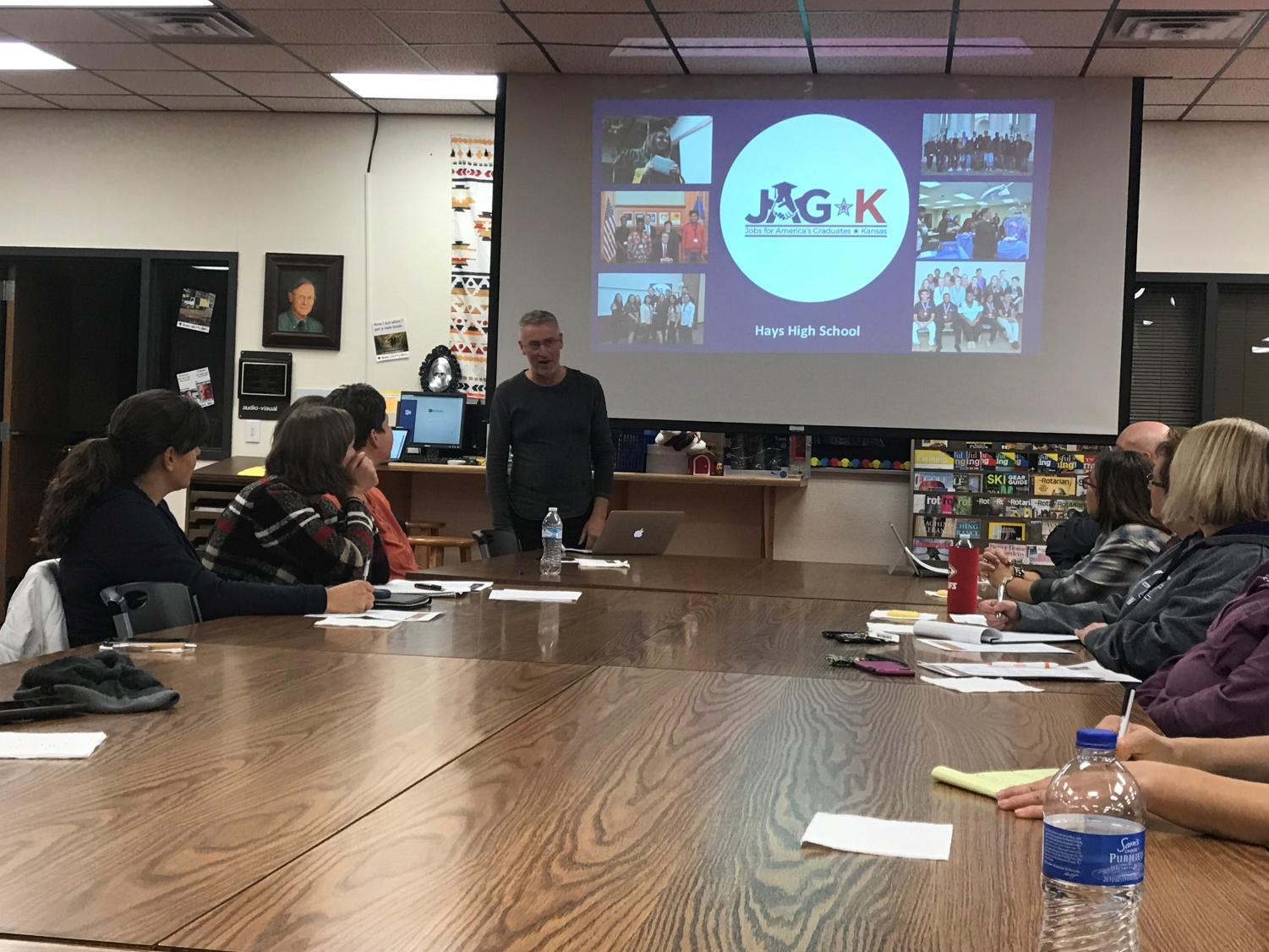 At the Site Council meeting, instructor Johnny Matlock introduced his program, JAG-K.