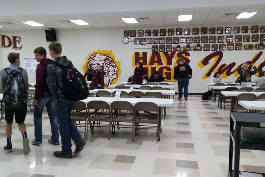 Freshman enter the cafeteria to take the STAR math test on Dec. 6.