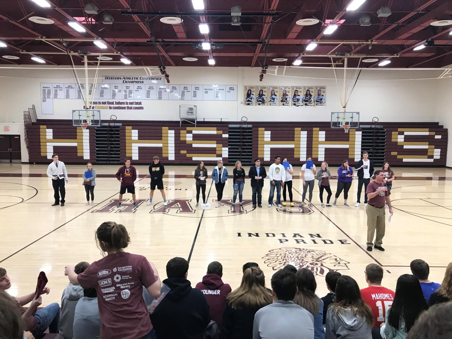 """Leadership team met on Dec. 13 to host a Q & A panel for the freshmen. """"I did this activity at my last high school,"""" Dale said while introducing the panel. """"The juniors and seniors said they would have really liked to hear this advice when they were freshmen."""""""