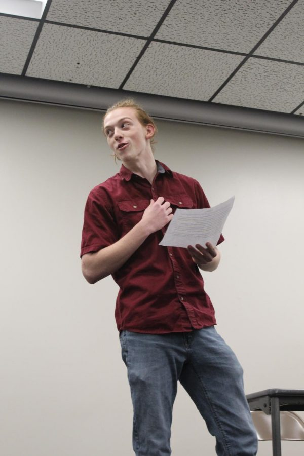 Senior Garrett Cole performs his monologue during auditions on Dec. 13. Cole was cast as Frank in this year's play.