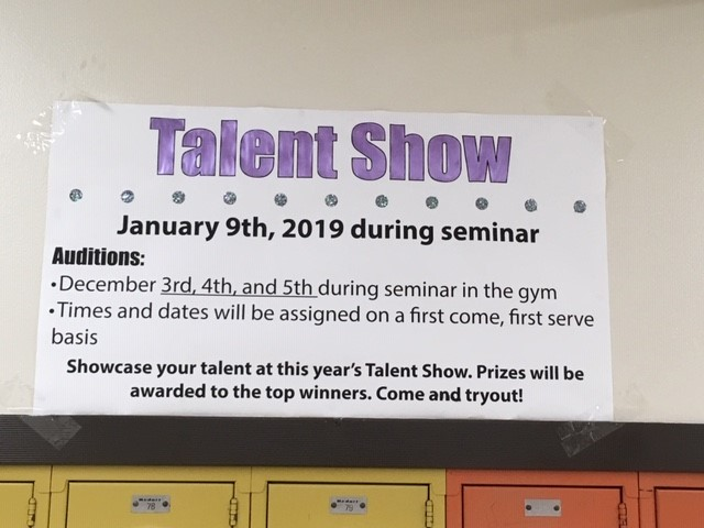 The talent show will be January 9th during seminar. Auditions will take place during the first week of December.