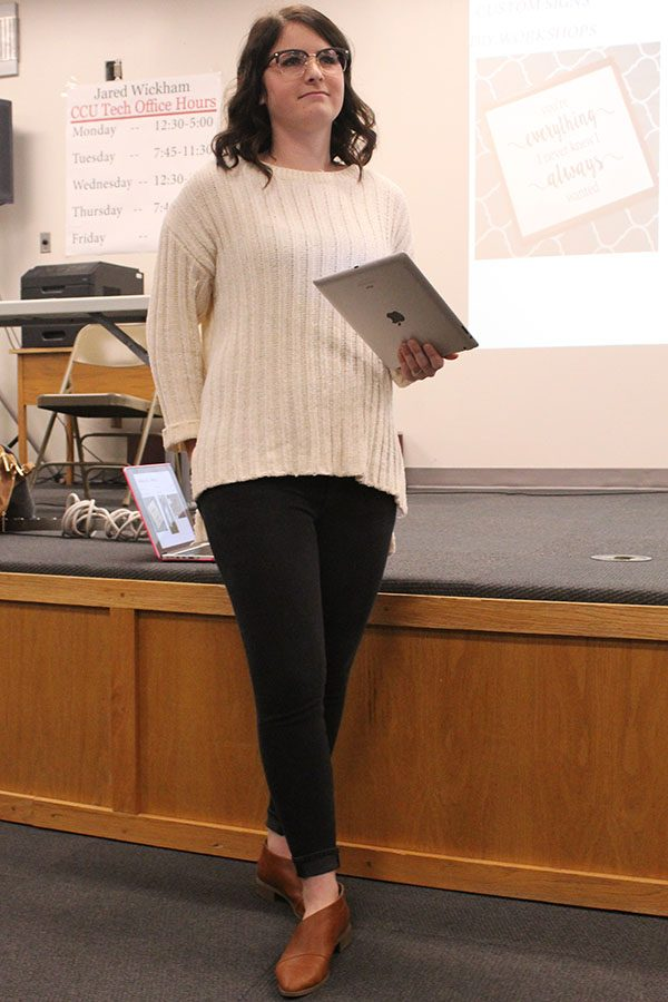 Hays High alumni Allyson Werth spoke to students on Jan. 23 about her experience in starting her own businesses. Students were able to ask questions and find out more about what it takes to be an entrepreneur.