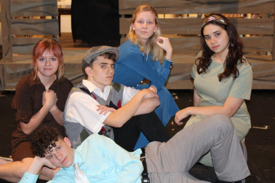 Sophomore Tom Drabkin poses with his musical cast mates.