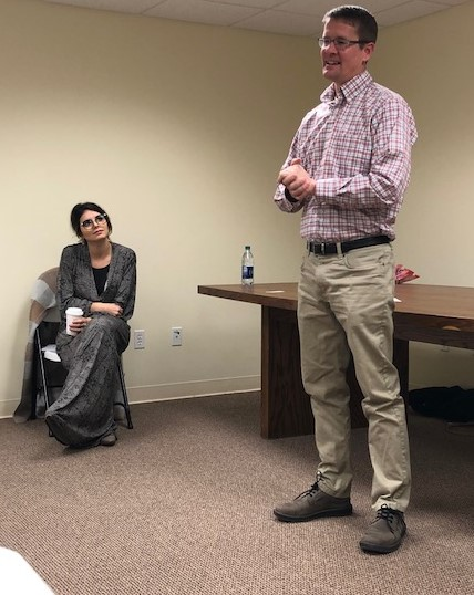 Business owner Shaun Musil spoke with Anissa Pfeifer on Feb. 13 to Community Ambassadors from TMP and Hays High. The two spoke about their experiences being entrepreneurs.