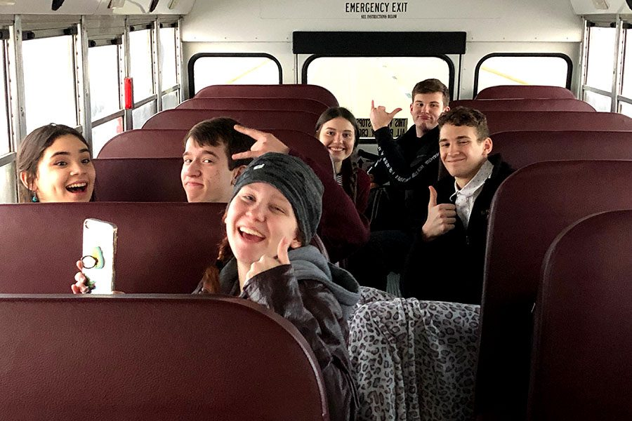 This+year%E2%80%99s+KMEA+All-State+Choir+participants+make+the+journey+to+Wichita+for+their+first+rehearsal+%28sophomore+Alexis+White+is+not+shown+in+this+photo%29.
