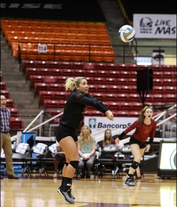 Hays High alumni Albany Schaffer plays in a collegiate volleyball game. Schaffer currently attends the University of Louisiana-Monroe and is majoring in Kinesiology with a minior in sport psychology.