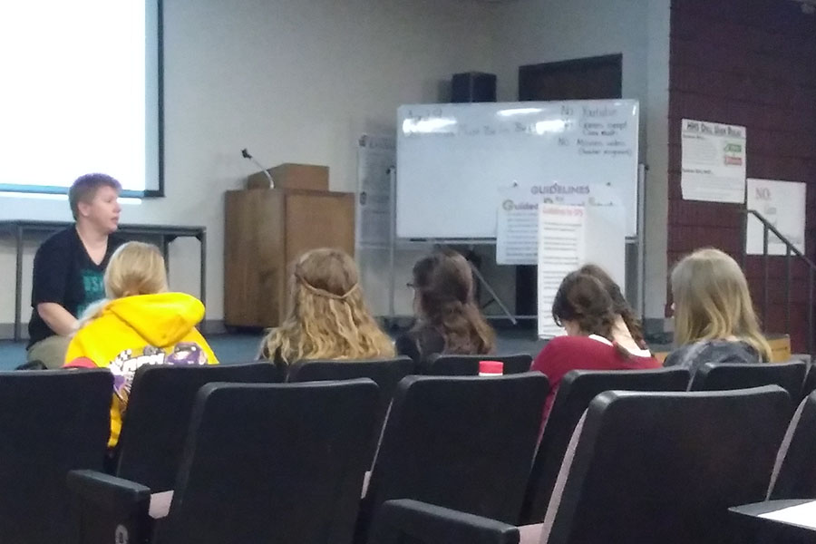 An Options representative speaks to students regarding sexual violence awareness. This is the first event Jana's Campaign has hosted in the month of April.
