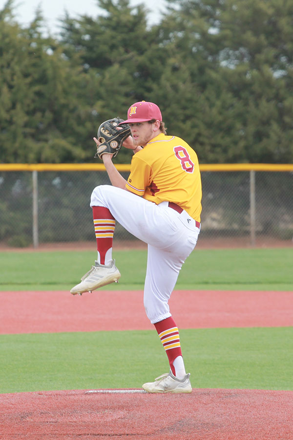 Senior Trey Riggs pitching against Great Bend on April 9. Him and his team will compete again on April 12 against Dodge City.