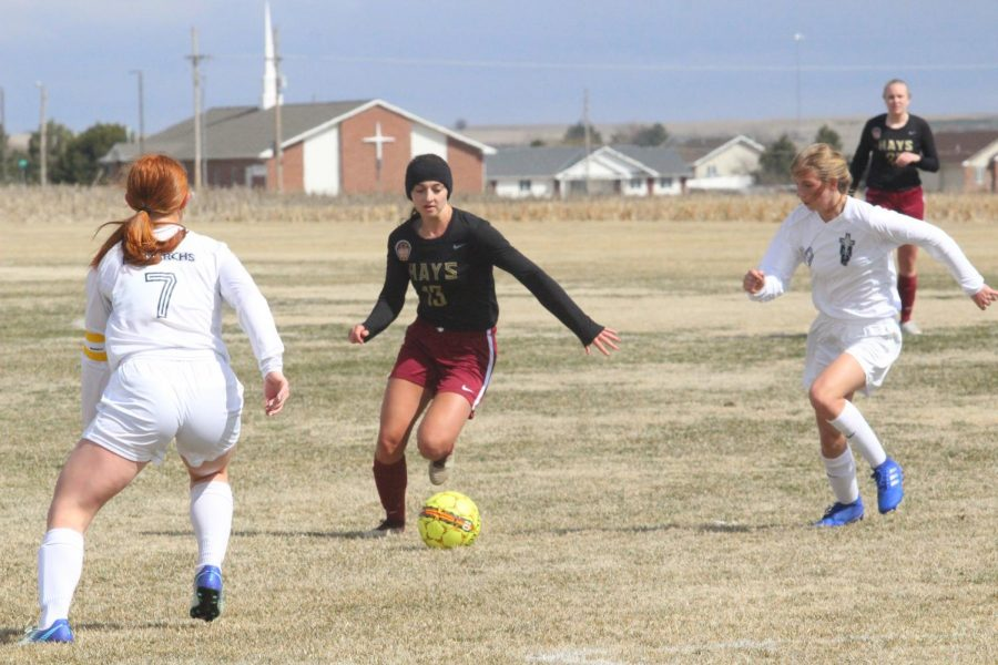 Senior+Kallie+Leiker+dribbles+a+ball+at+a+previous+home+game+against+TMP.+The+Lady+Indian+soccer+season+ended+after+a+2-1+loss+against+Valley+Center+on+May+16.