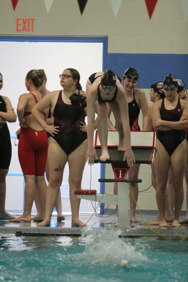 Junior Megan Flavin competes in a previous meet in Great Bend. Flavin recently competed in her third state swim meet in Topeka on May 17.