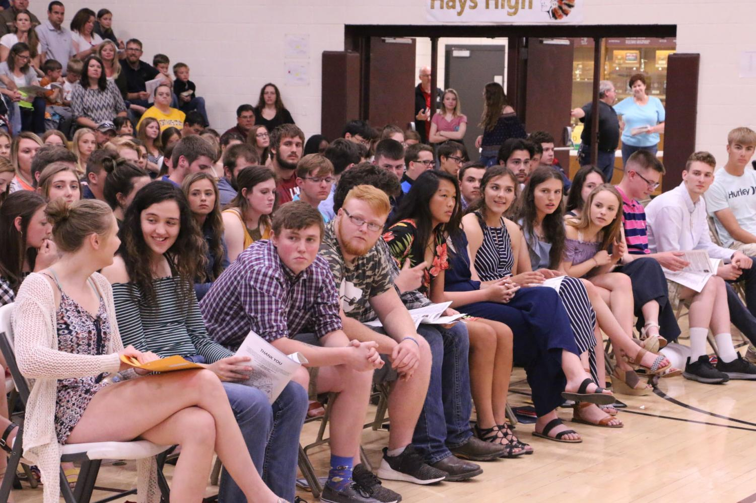 On May 6 at 6:30 pm in gym A students received and were recognized for scholarships, sports awards, academic achievements, etc.Students that came to awards night gave the announcer a card of their achievements, to be read off.