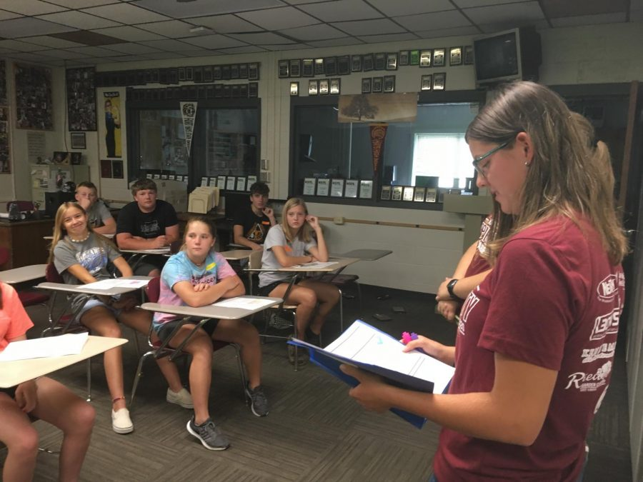 Senior Megan Flavin talks to Mr.Balman's Academy class about the differences between Pride Time and Guided Personal Study. This is Flavin's second year being part of the Leadership Team.