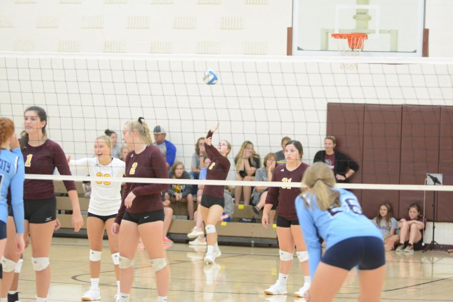 Senior+Cassidy+Prough+serves+the+ball+in+the+game+against+Scott+Community.