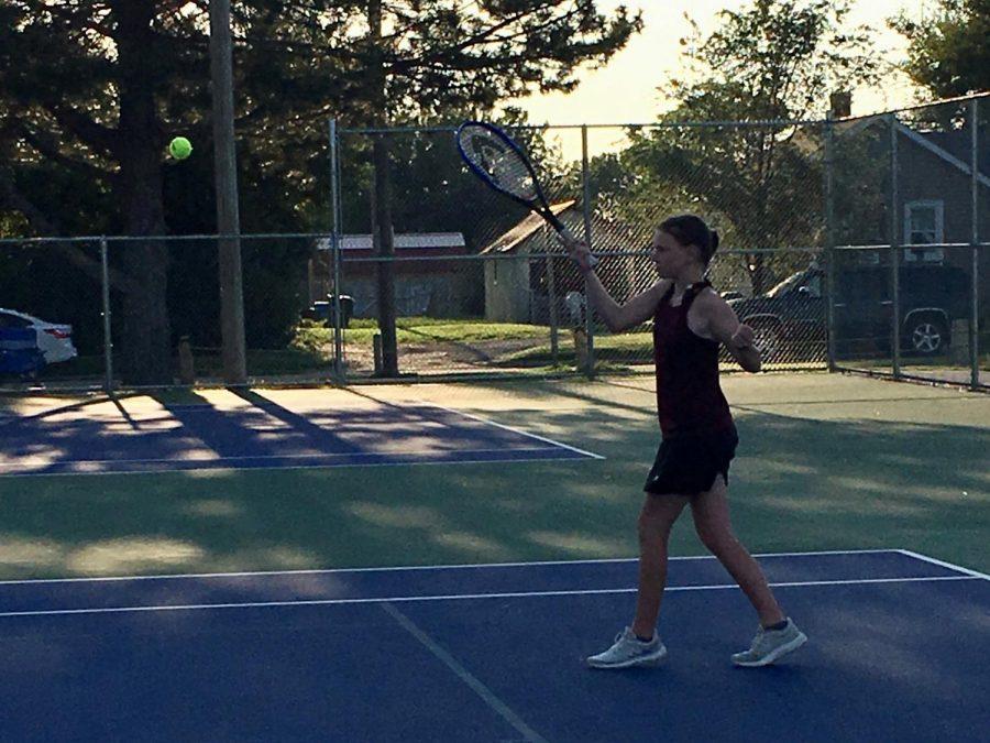 Freshman Brittnee Leiker played as #1 doubles along with freshman Danica Scheve.