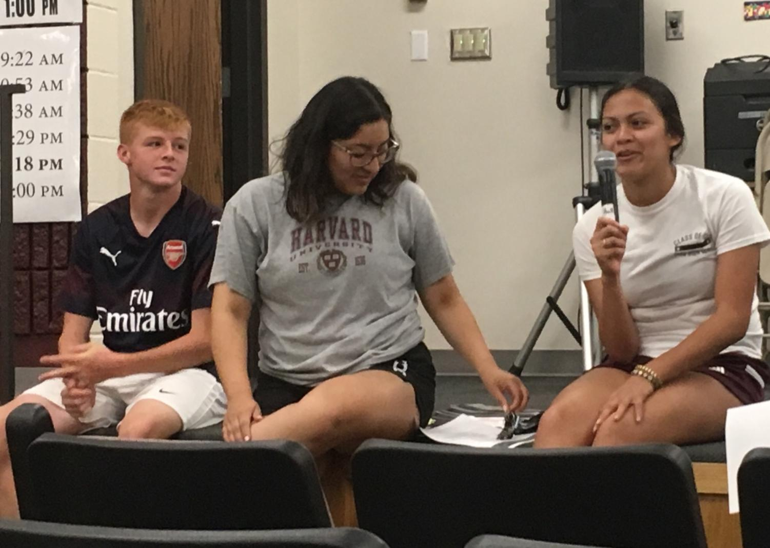 Senior Yesenia Moldonado speaks about her experience traveling to Scotland and Ireland through EF Tours  during the informational meeting about the 2021 trip to Germany, France, Portugal and Spain offered through EF Tours. Seniors Joanna Carillo and Matt Goodale also attended the Scotland and Ireland trip and shared their favorite parts of the trip.