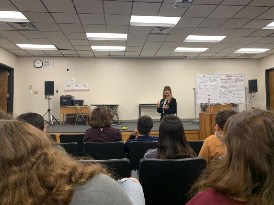 Thedirector ofInternationalStudentServicesat Fort Hays State University,CarolSolko-Ollif,spoke to students in theLectureHall during PRIDETime on Oct. 2 as a career speaker.