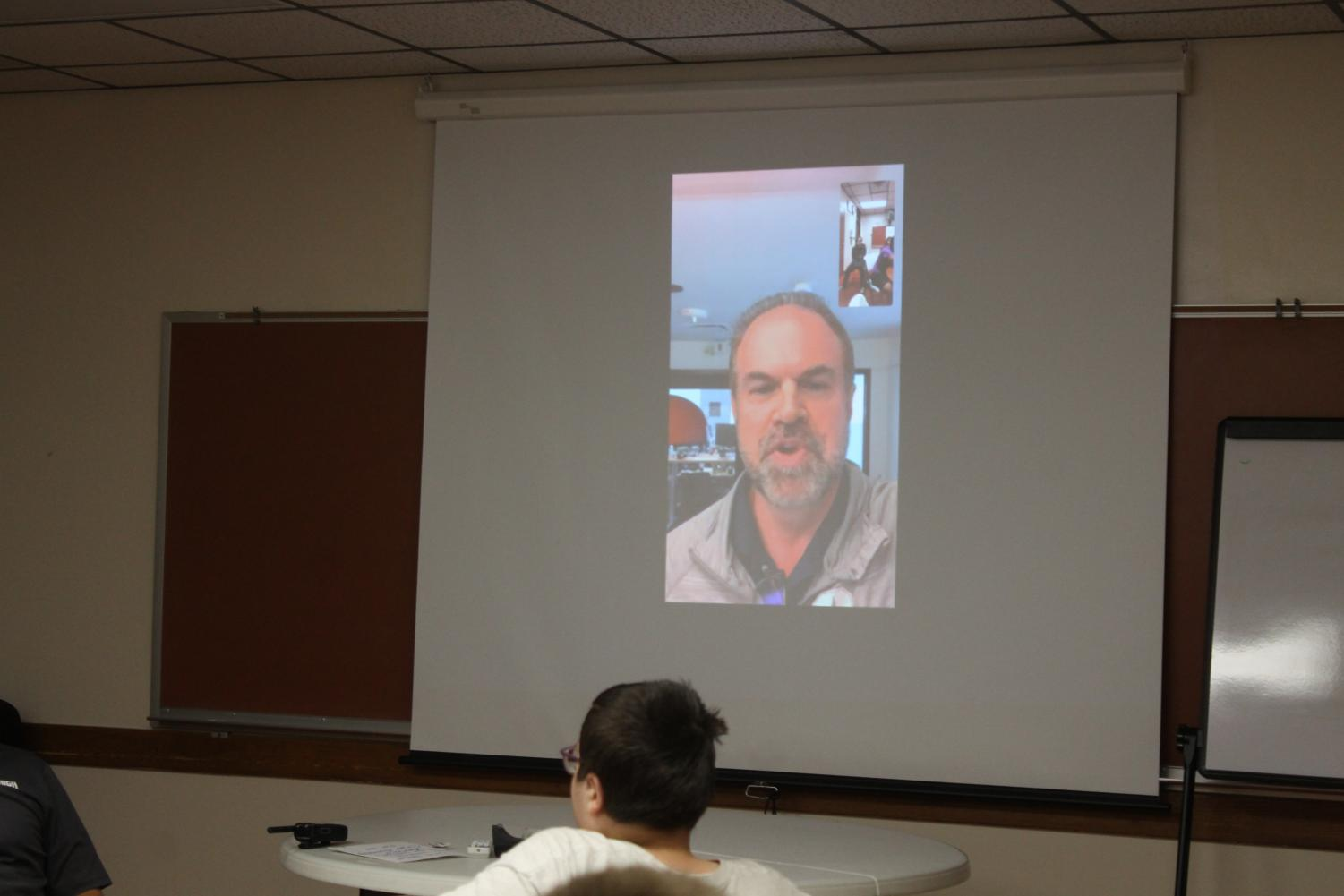 Career speaker Dale Wentmore spoke to students over FaceTime from his office in Denver.
