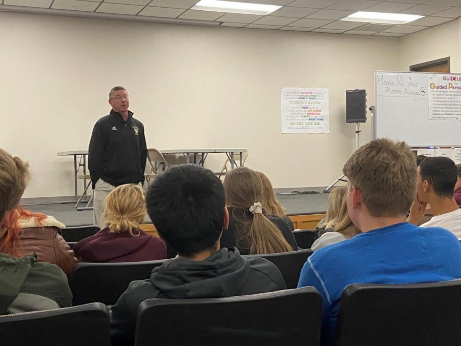 Gerard Wellbrock spoke to students during PRIDE time on Wednesday, Oct. 30.