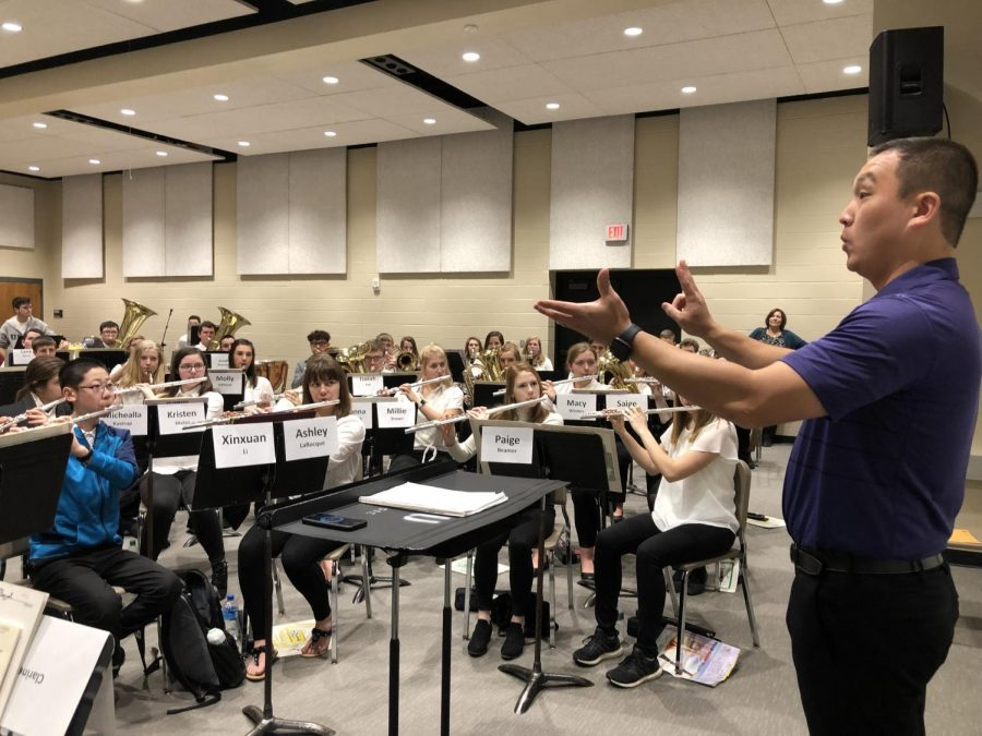 Alex Wimmer from Kansas State University served as this years band clinician. He spent the day rehearsing with the band in Malloy Hall until all three ensembles were moved to Beach/Schmidt for the afternoon concert.