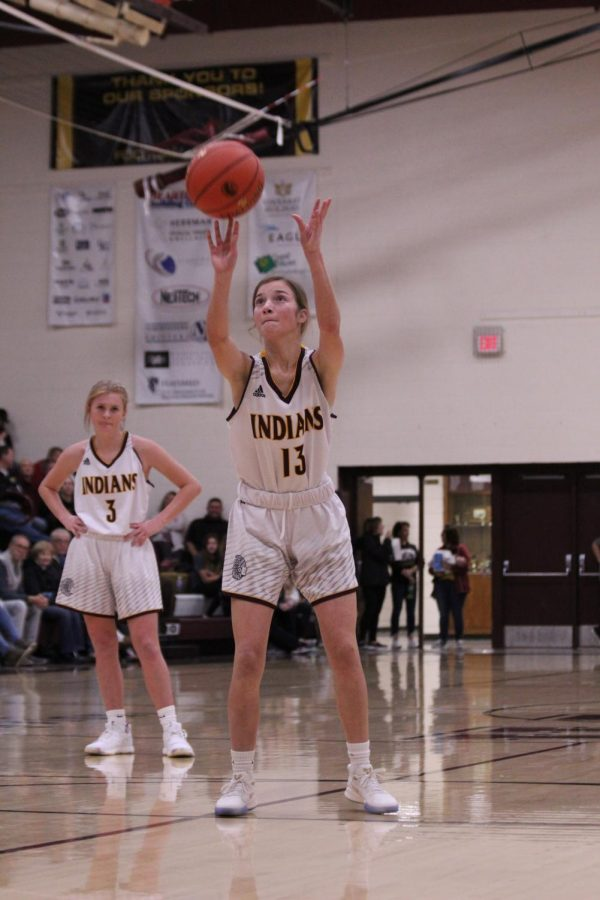 Freshman+Carly+Lang+shoots+a+free-throw+during+the+game+against+Life+Prep+at+home.+