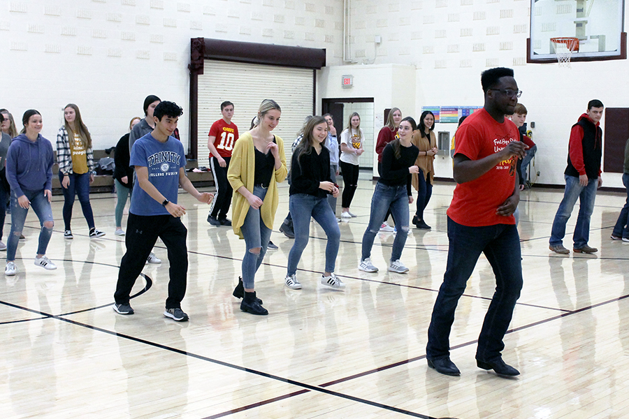 More than 30 students attended a swing/line dancing practice in Gym B held by Student Council. Members of the Fort Hays State University Barn Hoppers came to teach students how to dance for Indian Call.