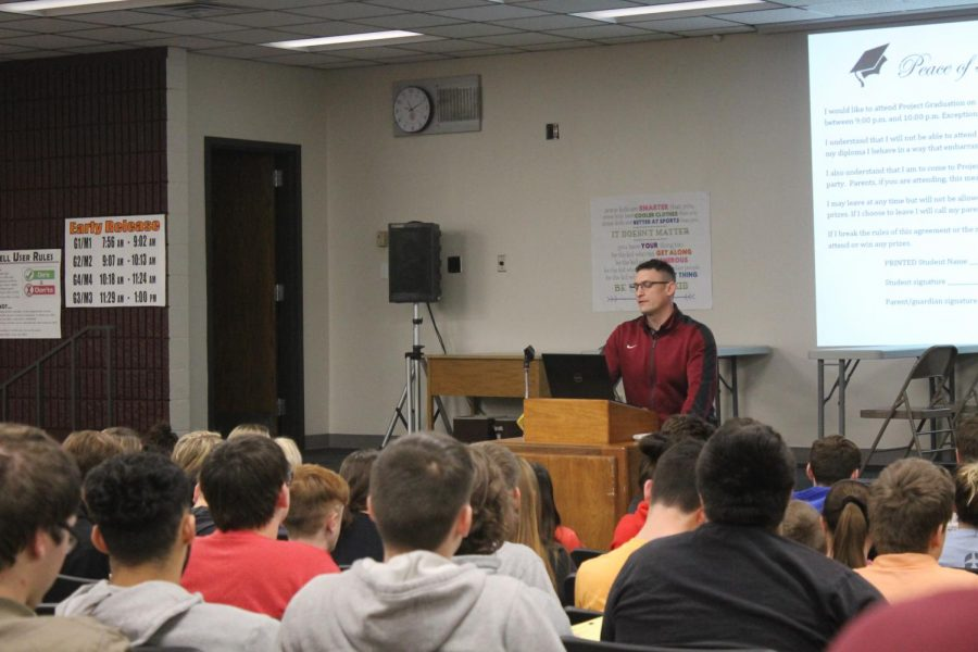 On+Feb.+11%2C+seniors+attend+a+meeting+in+the+Lecture+Hall+to+discuss+Project+Graduation.+Project+Graduation+will+be+held+on+May+10+at+the+Memorial+Union+in+Fort+Hays+State+University.+