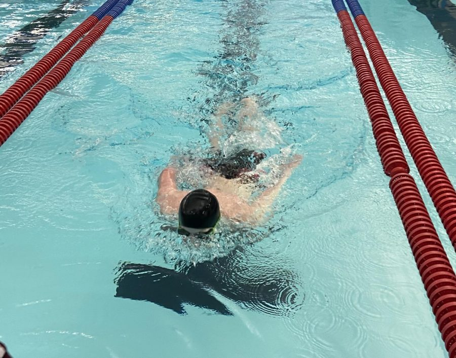 A Hays swimmer on his final lap in his event.
