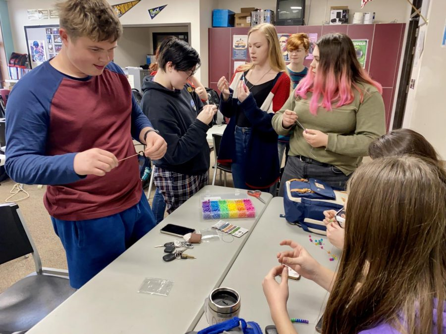 Students gathered in Room 112A after school on March 10 to make bracelets in promotion of the school's Gender Sexuality Alliance. The purpose of the GSA is to discuss how to handle bullying and provide a safe space for students to express themselves.