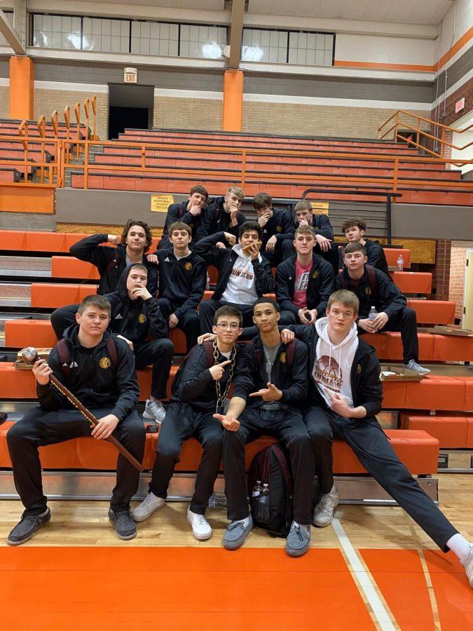 The+boys+basketball+team+after+their+win+against+Abilene.+