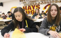 Leadership Team accompanied eighth graders throughout their visit to Hays High. The incoming freshmen had the opportunity to tour the school, meet sponsors from several activities and organizations, and begin pre-enrollment.