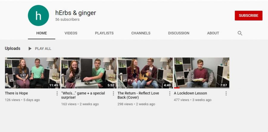 Seniors+Nathan+Erbert+and+Lynsie+Hansen+have+created+a+YouTube+channel+called+%E2%80%9ChErbs+%26+Ginger.%E2%80%9DHansen+said+she+enjoys+learning+how+to+edit+videos+and+watching+failed+attempts.