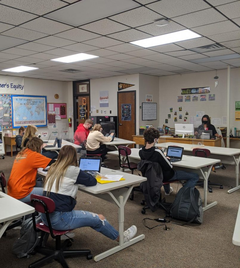 Students of business teacher Lindsay Hart's PRIDE Time complete a Learning Styles quiz on Xello on Oct. 21.