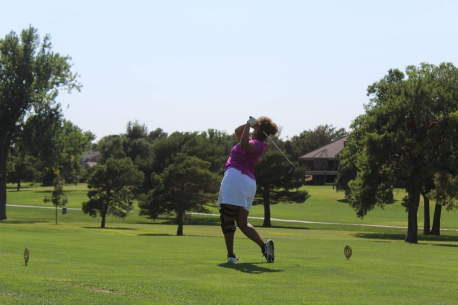 Junior Taleia McCrae tees off during the Hays Invitational during the golf season. McCrae was named to the All-WAC First Team and was also named Player of the Year.
