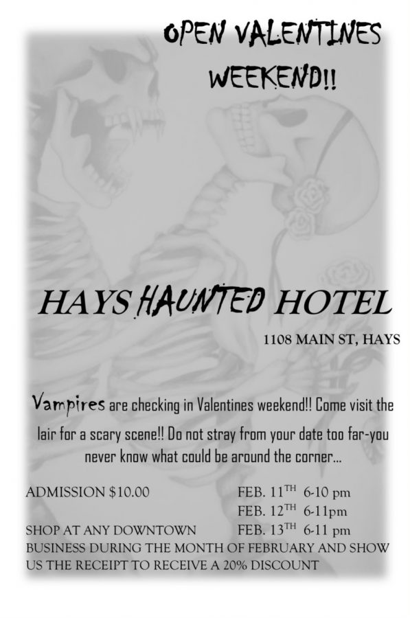 A+flyer+from+the+Hays+Haunted+Hotel+detailing+its+Valentine+activity.