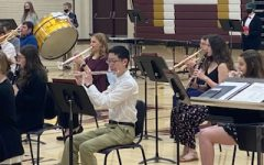 Hays High band students play at their previous popcorn concert on March 18, 2021.