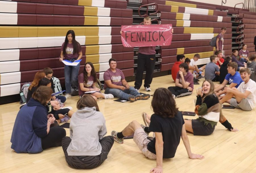 Leadership Team directs freshmen to their academies before splitting up for discussion during PRIDE Time on Sept. 9.
