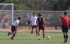 Juniors Jordan Timken, Corey Musil, and Diego Muller at the Maroon and Gold scrimmage.