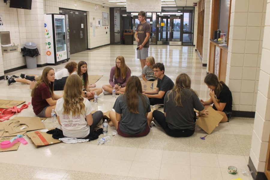 Student council members collaborate to come up with decoration ideas on Friday, Oct.  8.